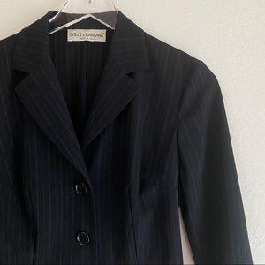 DOLCE AND GABBANA vintage navy pinstripe blazer